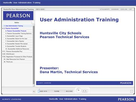 Huntsville User Administration Training. Huntsville User Administration Training: Pearson SuccessNet Plus.