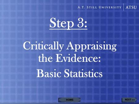 Step 3: Critically Appraising the Evidence: Basic Statistics.