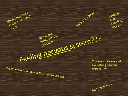 Feeling nervous system??? Come and learn about everything nervous system like: What other body systems work with mine Parts of the brain Jobs of the major.