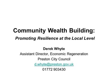 Community Wealth Building: Promoting Resilience at the Local Level