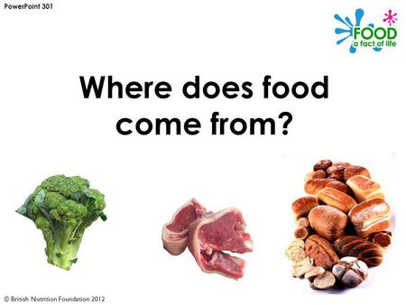 © British Nutrition Foundation 2012 Where does food come from? PowerPoint 301.