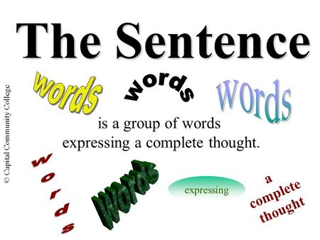 © Capital Community College The Sentence is a group of words expressing a complete thought. expressing a complete thought.