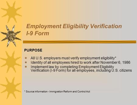 Employment Eligibility Verification I-9 Form