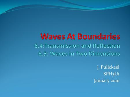 J. Pulickeel SPH3U1 January 2010. 2 Wave Behavior What type of waves do not travel through a medium? What types of waves travel through a medium? Name.