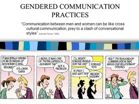 GENDERED COMMUNICATION PRACTICES Communication between men and women can be like cross cultural communication, prey to a clash of conversational styles.