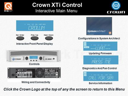 Crown XTi Control Click the Crown Logo at the top of any the screen to return to this Menu Interactive Main Menu Interactive Front Panel Display Updating.