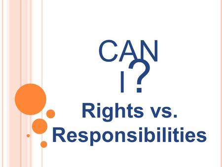 Rights vs. Responsibilities CAN I?I?. RIGHTS Definition: Things that you are allowed to do because of nature or because of law.