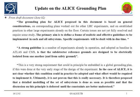 16/12/02GS/ALICE TB 1 Update on the ALICE Grounding Plan From draft document (June 02) The grounding plan for ALICE proposed in this document is based.