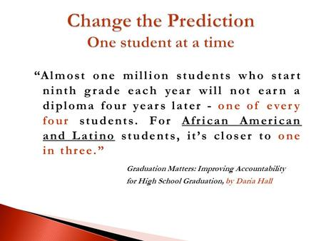 Almost one million students who start ninth grade each year will not earn a diploma four years later - one of every four students. For African American.