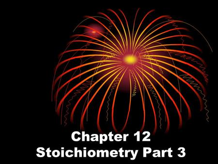 Chapter 12 Stoichiometry Part 3. PERCENT YIELD Most reactions never succeed in producing the predicted amount of product. So in order to determine the.