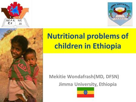 Nutritional problems of children in Ethiopia Mekitie Wondafrash(MD, DFSN) Jimma University, Ethiopia.
