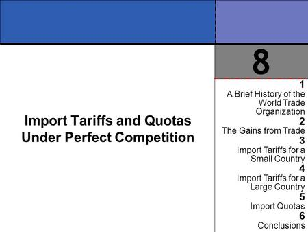 Import Tariffs and Quotas Under Perfect Competition 1 A Brief History of the World Trade Organization 2 The Gains from Trade 3 Import Tariffs for a Small.