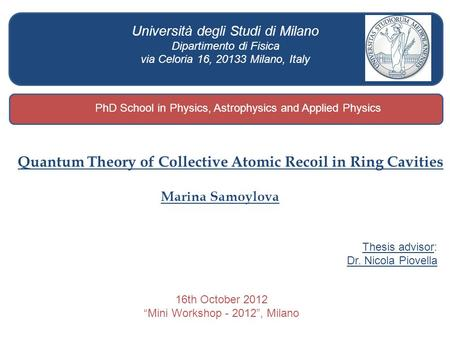 Quantum Theory of Collective Atomic Recoil in Ring Cavities