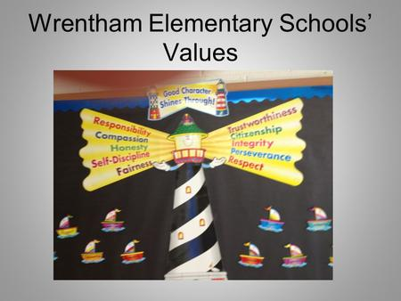 Wrentham Elementary Schools Values Open House September 19, 2013 Mrs. Haughey- 6 th Grade.