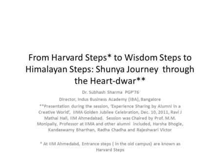 From Harvard Steps* to Wisdom Steps to Himalayan Steps: Shunya Journey through the Heart-dwar** Dr. Subhash Sharma PGP76 Director, Indus Business Academy.