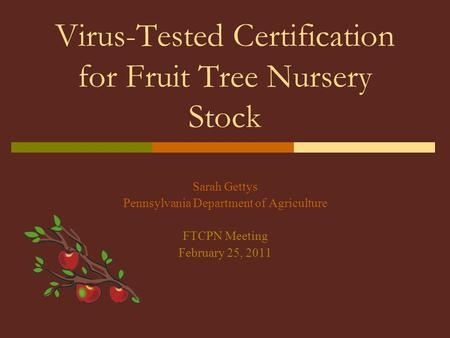 Virus-Tested Certification for Fruit Tree Nursery Stock Sarah Gettys Pennsylvania Department of Agriculture FTCPN Meeting February 25, 2011.