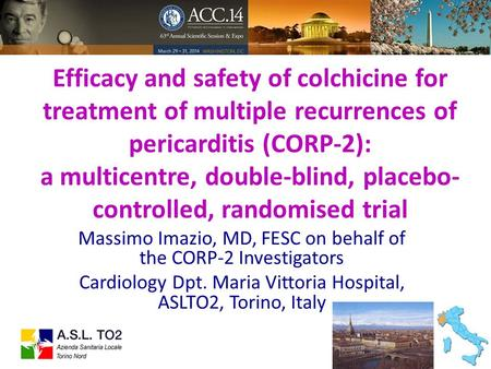 Efficacy and safety of colchicine for treatment of multiple recurrences of pericarditis (CORP-2): a multicentre, double-blind, placebo- controlled, randomised.