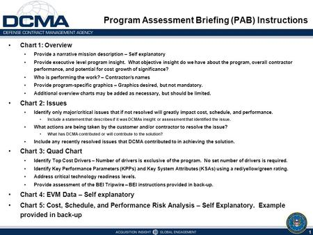 Program Assessment Briefing (PAB) Instructions Chart 1: Overview Provide a narrative mission description – Self explanatory Provide executive level program.