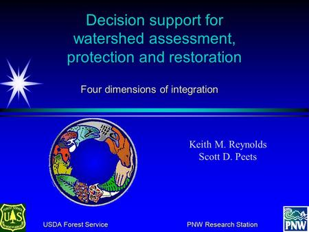 Decision support for watershed assessment, protection and restoration Keith M. Reynolds Scott D. Peets USDA Forest Service PNW Research Station USDA Forest.