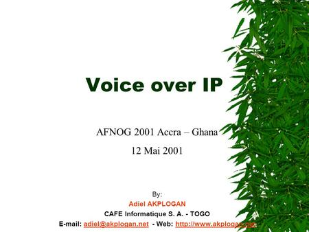 Voice over IP By: Adiel AKPLOGAN CAFE Informatique S. A. - TOGO   - Web:
