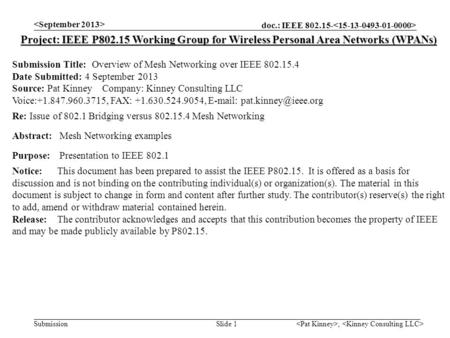 Doc.: IEEE 802.15- Submission, Slide 1 Project: IEEE P802.15 Working Group for Wireless Personal Area Networks (WPANs) Submission Title: Overview of Mesh.