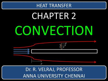 CHAPTER 2 CONVECTION Dr. R. VELRAJ, PROFESSOR ANNA UNIVERSITY CHENNAI HEAT TRANSFER.