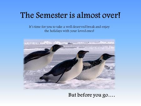 The Semester is almost over! Its time for you to take a well deserved break and enjoy the holidays with your loved ones! But before you go….