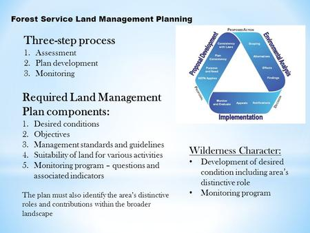 Forest Service Land Management Planning Three-step process 1.Assessment 2.Plan development 3.Monitoring Required Land Management Plan components: 1.Desired.
