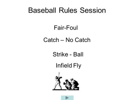 Baseball Rules Session Fair-Foul Catch – No Catch Strike - Ball Infield Fly.