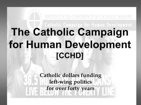 The Catholic Campaign for Human Development [CCHD] Catholic dollars funding left-wing politics for over forty years.