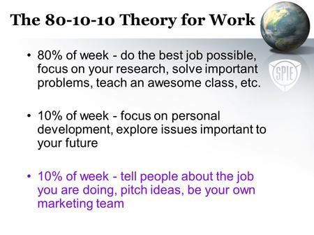 The 80-10-10 Theory for Work 80% of week - do the best job possible, focus on your research, solve important problems, teach an awesome class, etc. 10%