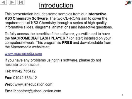 Introduction This presentation includes some samples from our Interactive KS3 Chemistry Software. The two CD-ROMs aim to cover the requirements of KS3.