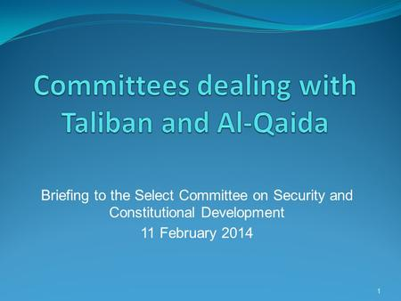 Briefing to the Select Committee on Security and Constitutional Development 11 February 2014 1.