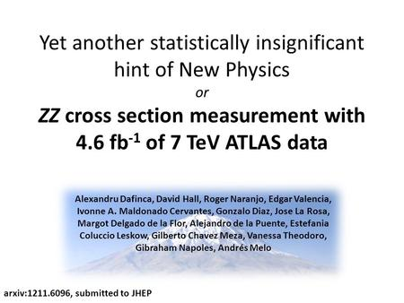 Yet another statistically insignificant hint of New Physics or ZZ cross section measurement with 4.6 fb -1 of 7 TeV ATLAS data arxiv:1211.6096, submitted.