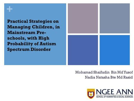 + Practical Strategies on Managing Children, in Mainstream Pre- schools, with High Probability of Autism Spectrum Disorder Mohamad Shaifudin Bin Md Yusof.
