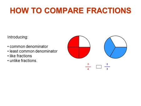 Introducing: common denominator least common denominator like fractions unlike fractions. HOW TO COMPARE FRACTIONS.