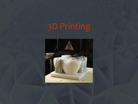 3D Printing Change this title. What is 3D Printing? Another name for Rapid Prototyping or RP for short.