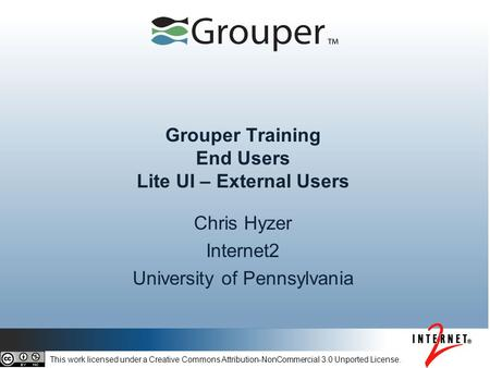 Grouper Training End Users Lite UI – External Users
