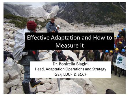 Effective Adaptation and How to Measure it Dr. Bonizella Biagini Head, Adaptation Operations and Strategy GEF, LDCF & SCCF.