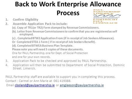 Back to Work Enterprise Allowance Process