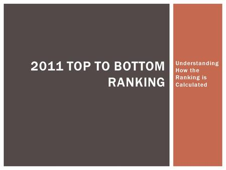 Understanding How the Ranking is Calculated 2011 TOP TO BOTTOM RANKING.
