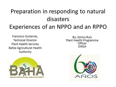Preparation in responding to natural disasters Experiences of an NPPO and an RPPO Francisco Gutierrez, Technical Director Plant Health Services Belize.