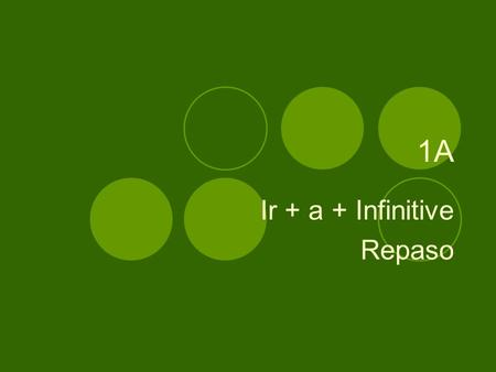 1A Ir + a + Infinitive Repaso. How to express what you are going to do. Ir + a + Infinitive.