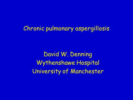 Chronic pulmonary aspergillosis