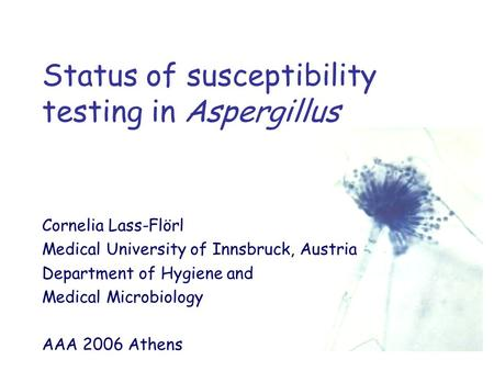 Status of susceptibility testing in Aspergillus Cornelia Lass-Flörl Medical University of Innsbruck, Austria Department of Hygiene and Medical Microbiology.