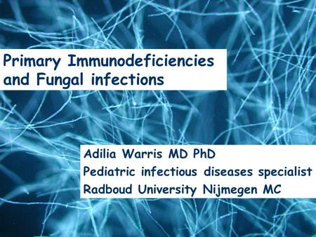 Epidemiology & Risk Factors Adilia Warris, MD Nijmegen University Center of Infectious Diseases, UMC St Radboud Adilia Warris MD PhD Pediatric infectious.