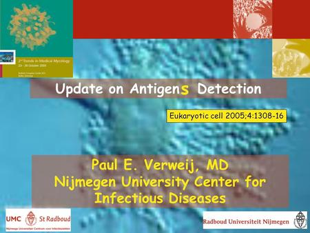 Update on Antigen Detection Paul E. Verweij, MD Nijmegen University Center for Infectious Diseases s Eukaryotic cell 2005;4:1308-16.
