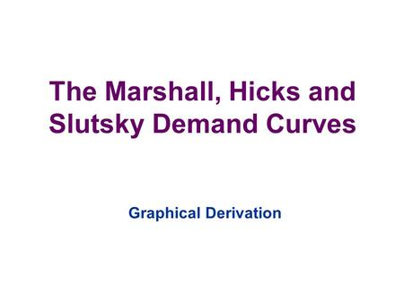 The Marshall, Hicks and Slutsky Demand Curves Graphical Derivation.