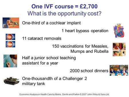 Economic Analysis in Health Care by Morris, Devlin and Parkin © 2007 John Wiley & Sons Ltd One IVF course = £2,700 What is the opportunity cost? 1 heart.