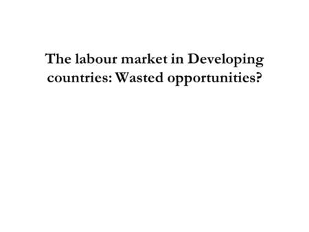 The labour market in Developing countries: Wasted opportunities?